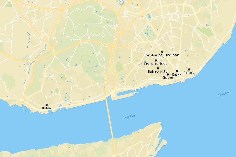 Lisbon area map