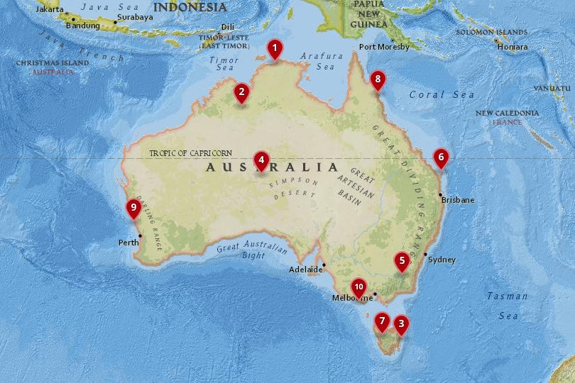Map of National Parks in Australia
