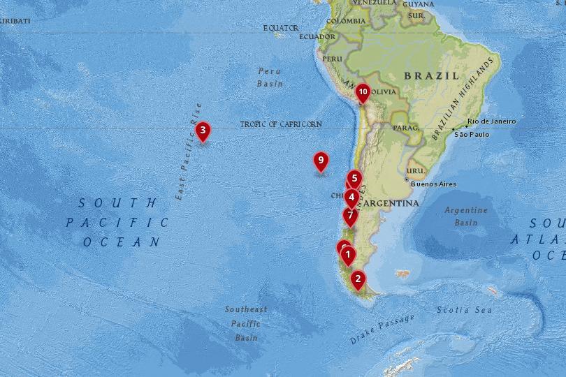 智利国家公园地图