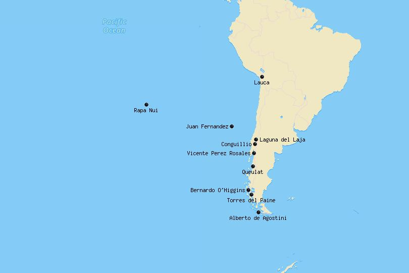 Map of National Parks in Chile