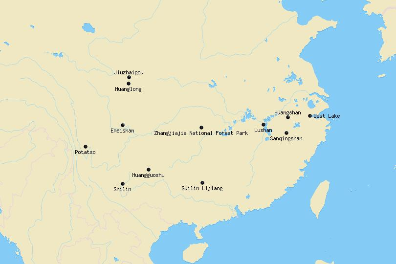Map of National Parks in China