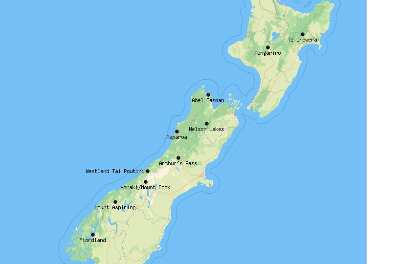 Map of National Parks in New Zealand