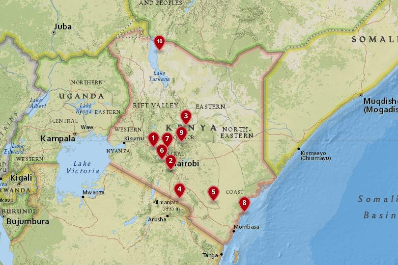 Map of National Parks in Kenya