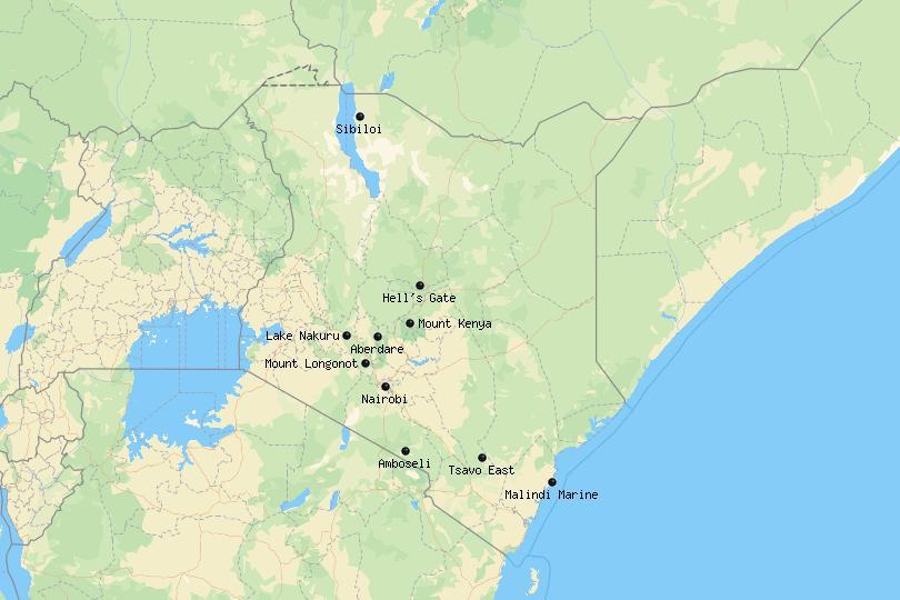 Map of National Parks in Kenya
