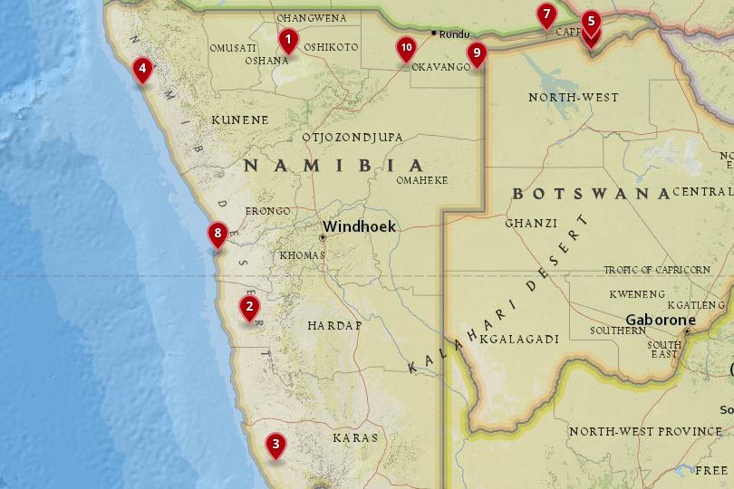 Map of National Parks in Namibia