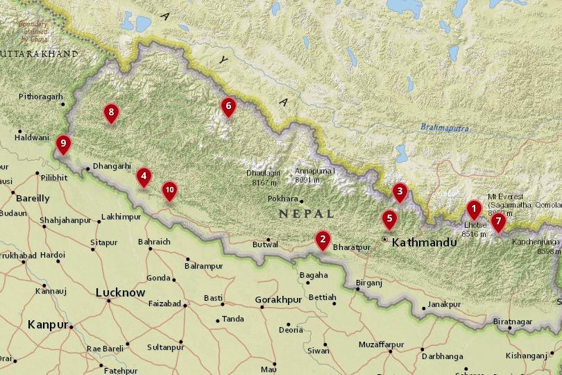 尼泊尔国家公园地图