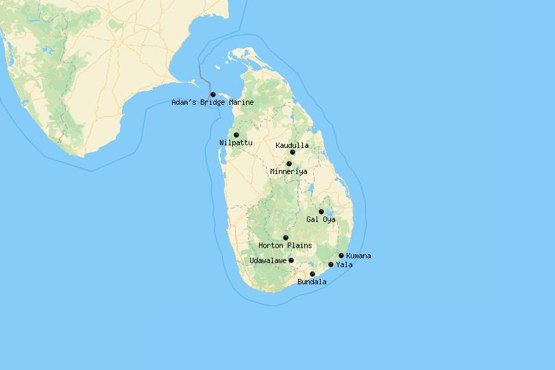 Map of National Parks in Sri Lanka