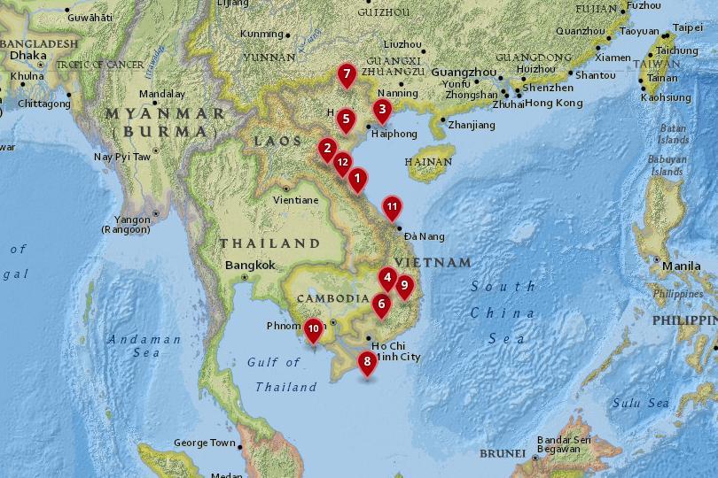 越南国家公园地图