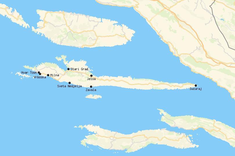 Map of Hvar
