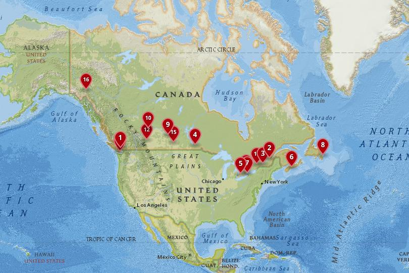 Map of cities in Canada