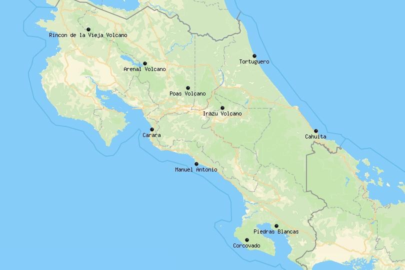 Map of National Parks in Costa Rica