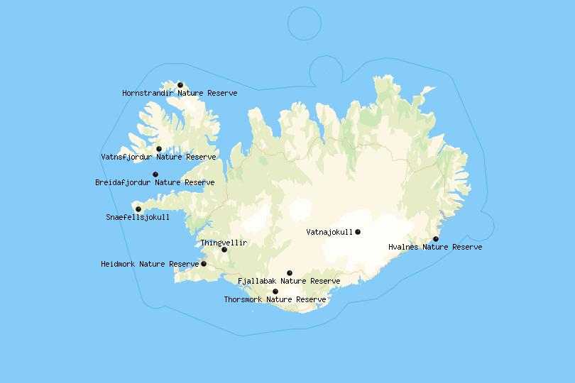 Map of Iceland's National Parks and Nature Reserves