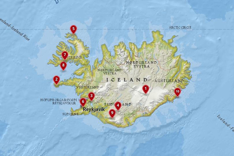 冰岛的国家公园和自然保护区地图