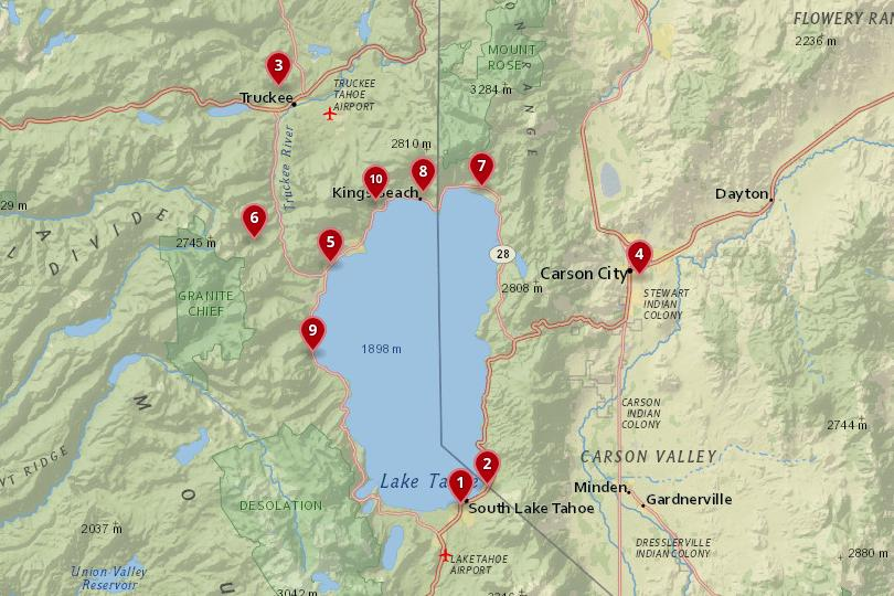 Map of Lake Tahoe
