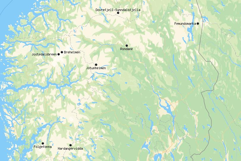 Map of National Parks in Norway