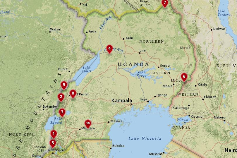 Map of National Parks in Uganda