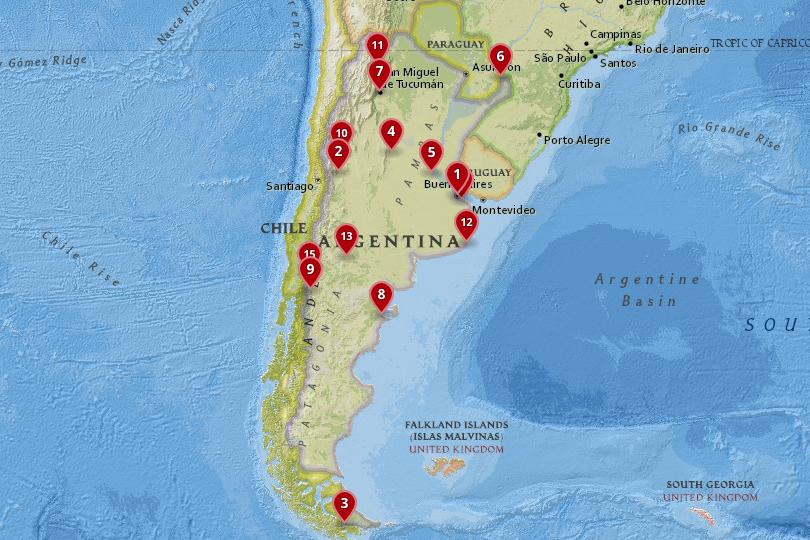 Map of cities in Argentina