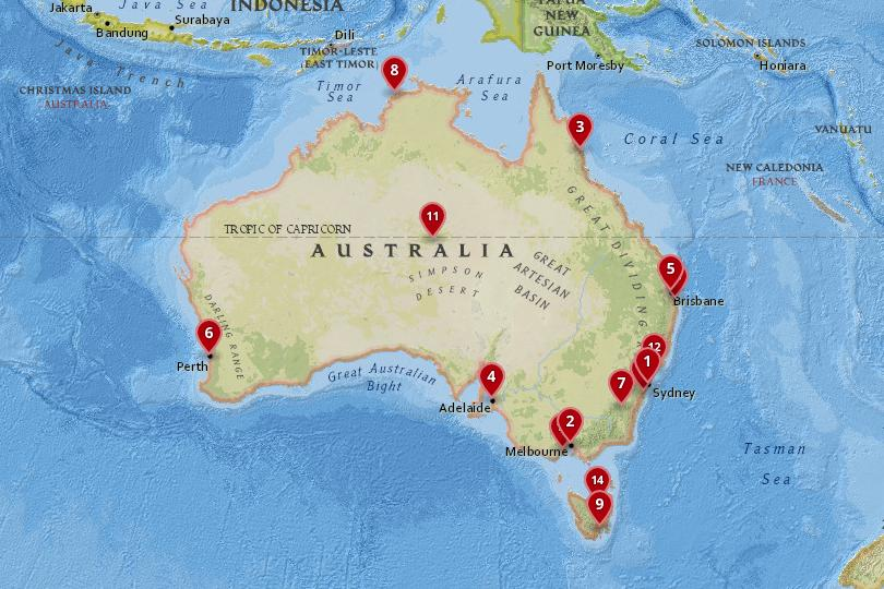 Map of cities in Australia