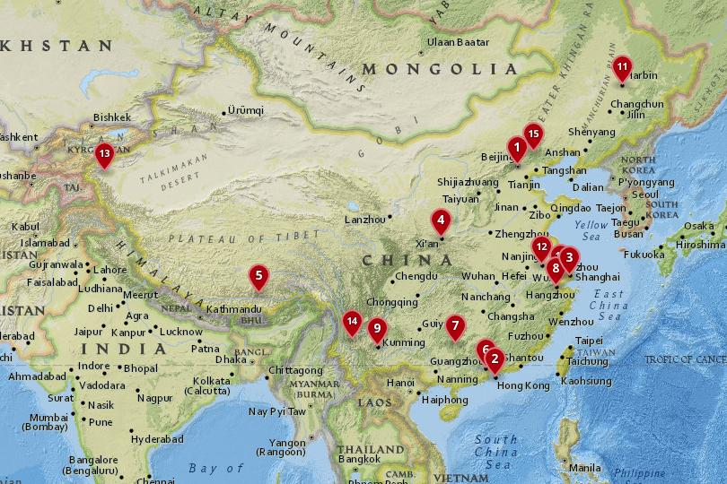 Map of the best cities in China