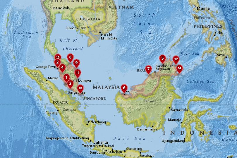 Map of the best cities in Malaysia