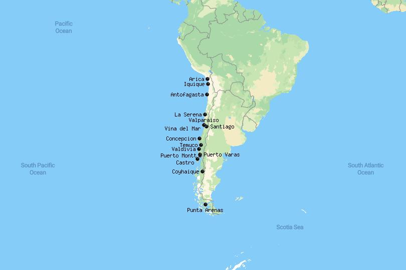 Map of cities in Chile