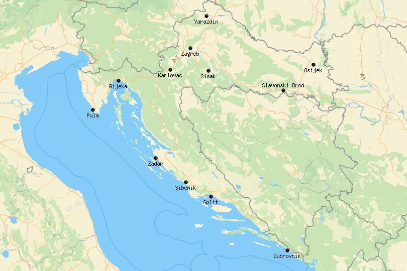 Map of cities in Croatia