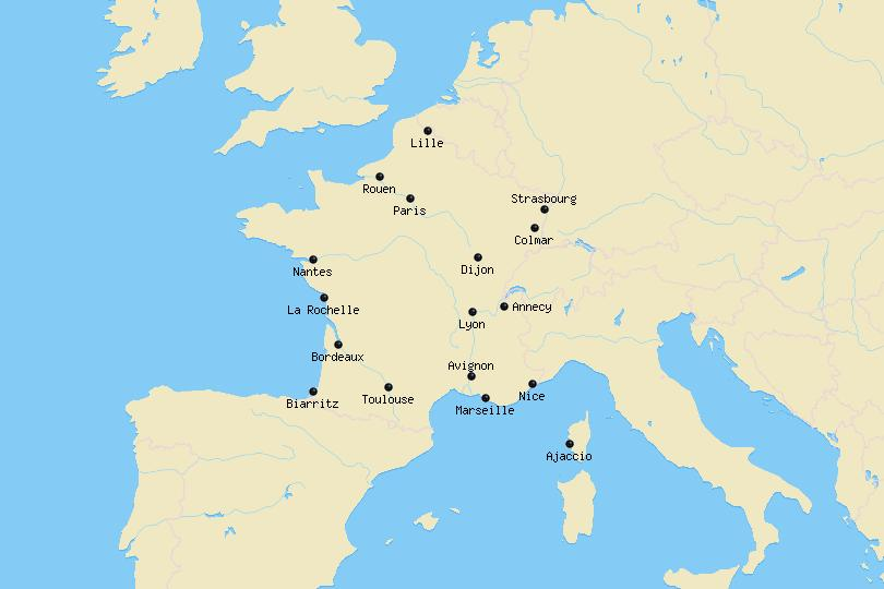 Map of cities in France