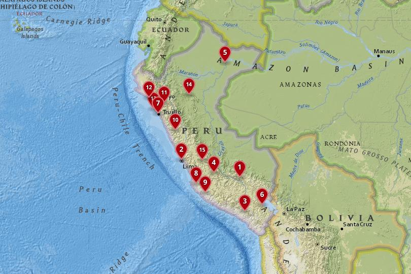 Map of the best cities in Peru