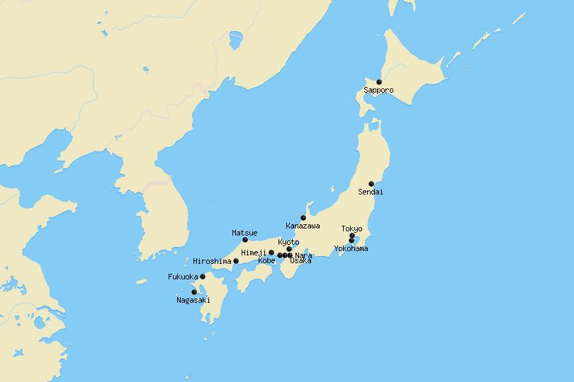 Map of cities in Japan