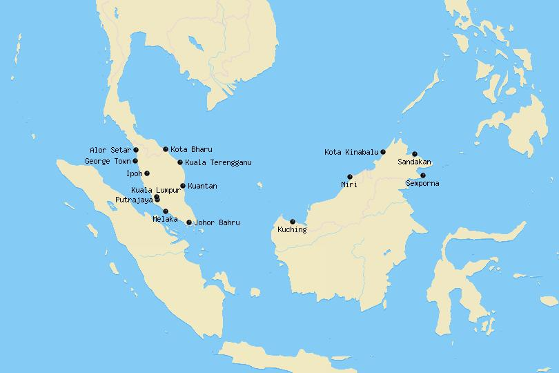 Map of cities in Malaysia