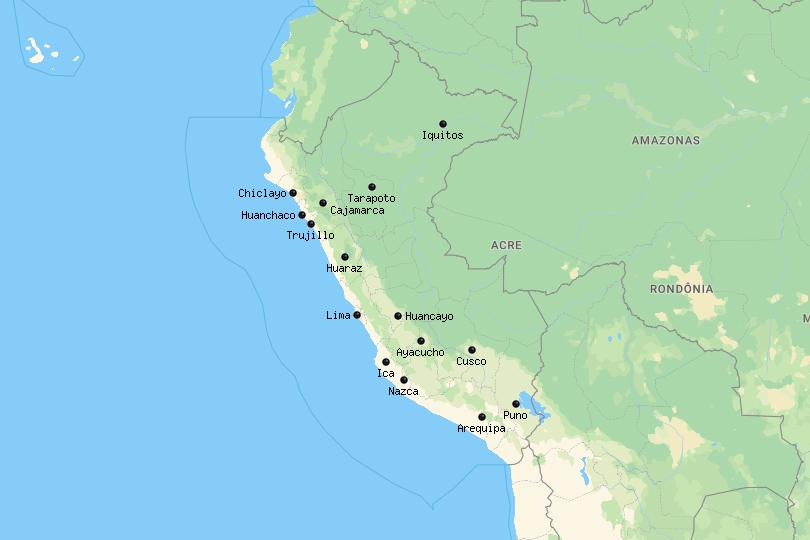 Map of cities in Peru