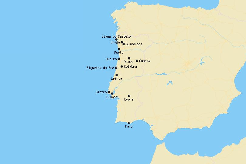 Map of cities in Portugal
