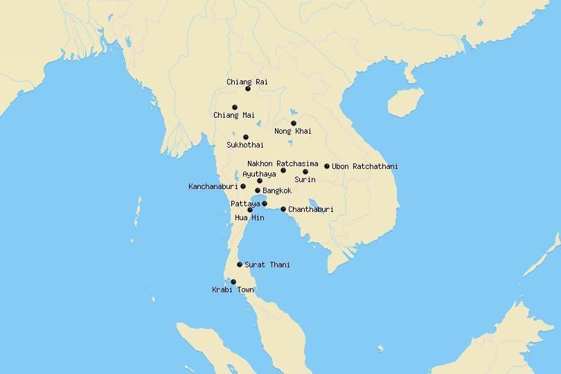 Map of cities in Thailand