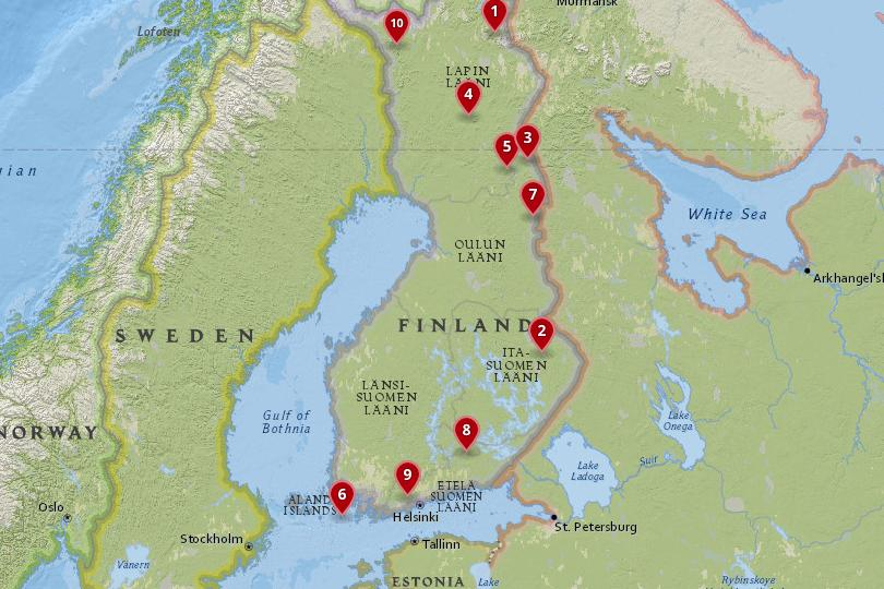 Map of National Parks in Finland
