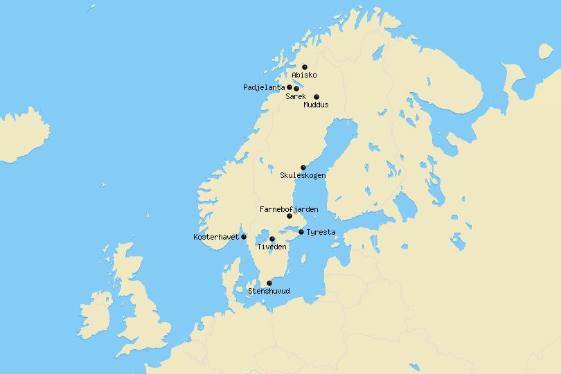 Map of National Parks in Sweden