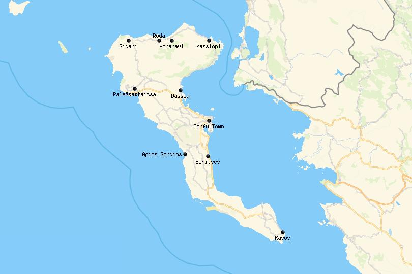Where to Stay in Corfu Map