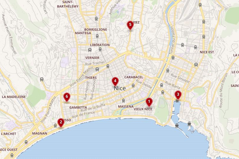 Map of where to stay in Nice