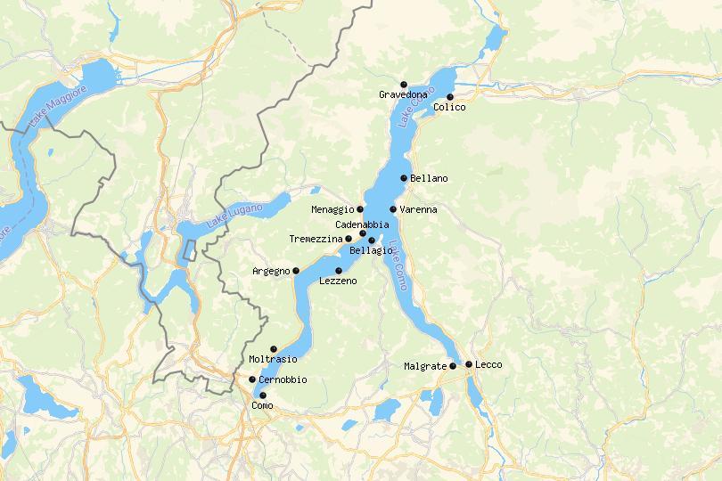 Mapa dos Melhores Lugares para Ficar no Lago Como