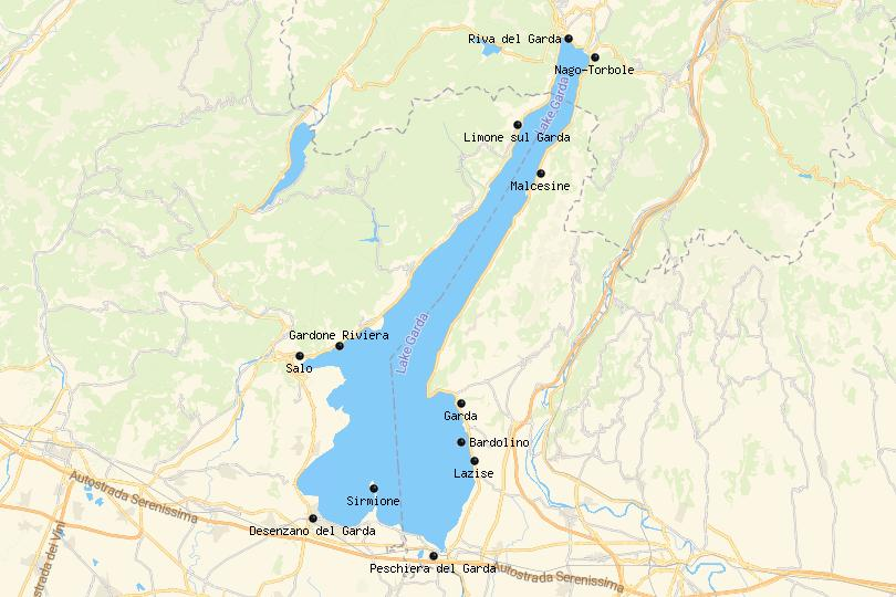 Map of Where to Stay in Lake Garda