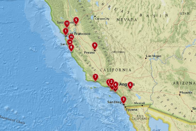 Map of cities in California