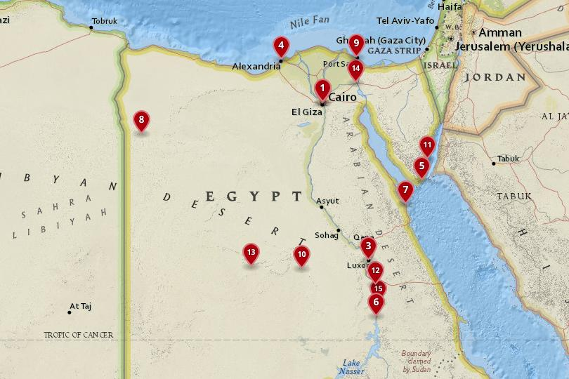Map of the best cities in Egypt