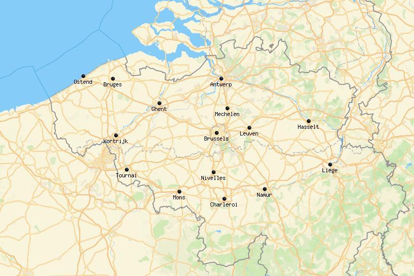 Map of cities in Belgium