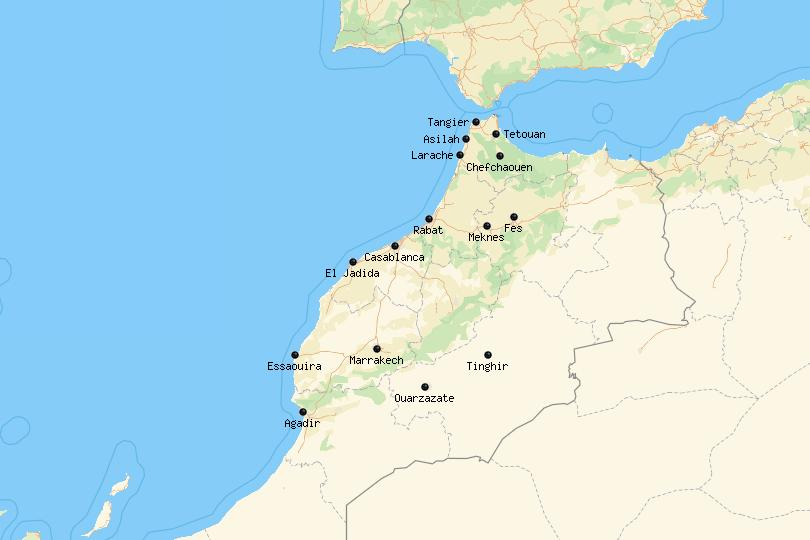 Map of cities in Morocco
