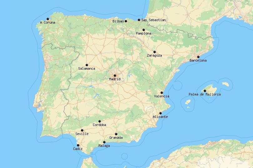 Map of cities in Spain