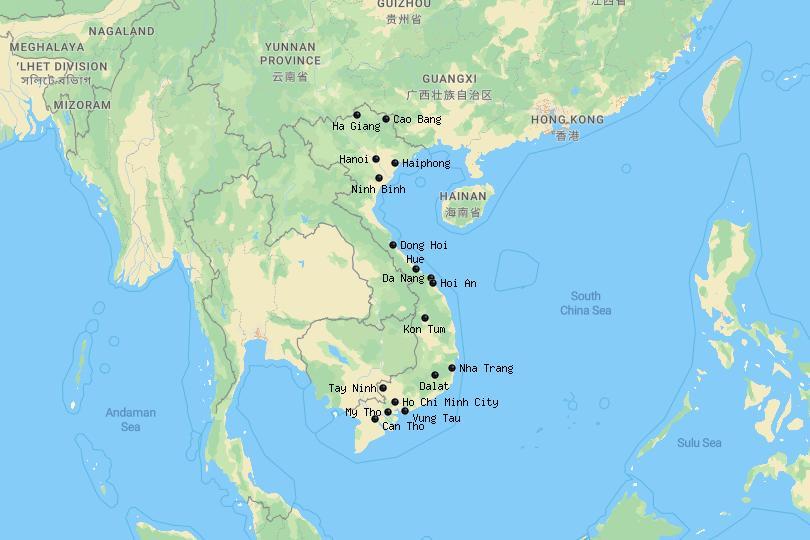 Map of cities in Vietnam