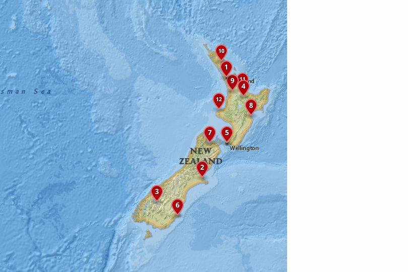 Map of the best cities in New Zealand