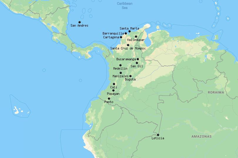 Map of cities in Colombia