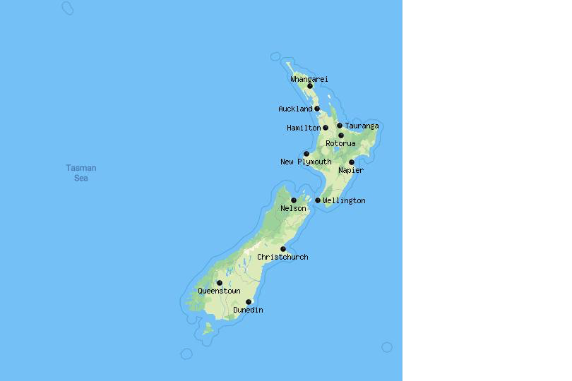Map of cities in New Zealand