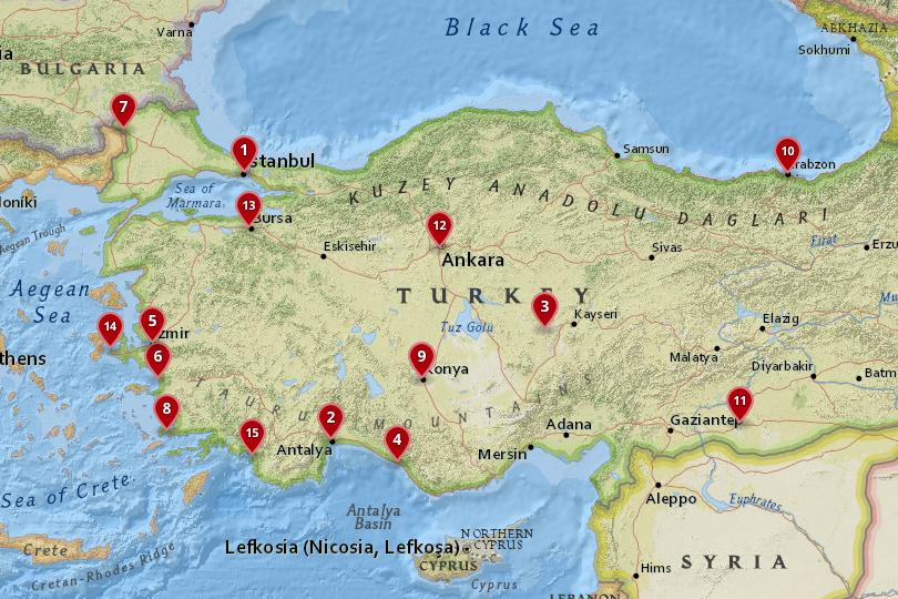 Map of the best cities in Turkey