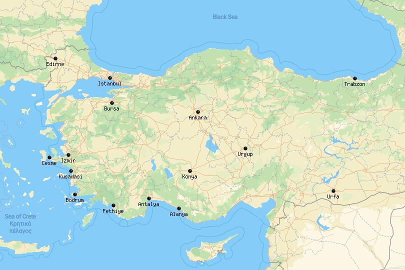Map of cities in Turkey